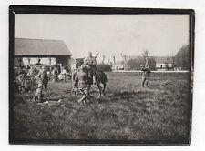 Photo ancienne MILITAIRE SOLDAT Guerre 14-18 Belgique Belge Casque Fusil Cheval