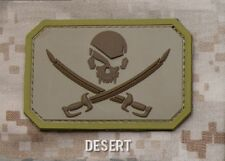 PIRATE SKULL FLAG DESERT TACTICAL COMBAT BADGE MORALE PVC MILITARY PATCH