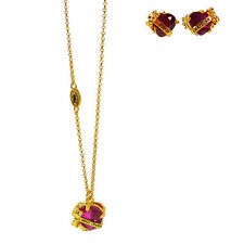 NEW Juicy Couture Wishes RED Heart Banner Bow NECKLACE & Post EARRING Gift Set