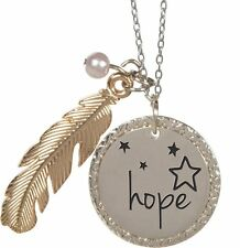 """Nature's Grace HOPE Feather Pendant Necklace on 18"""" Chain, by AngelStar 16165"""