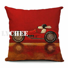 45cm 18inch Linen Cotton Cushion Cover Pillow Case Dog Red Sports Car Gift