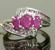 Genuine African Ruby, Pink Sapphire & Diamond Cocktail Ring Platinum / 925