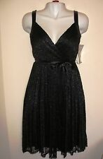 NEW Betsey Johnson Black Lace 100% Silk Party Dress A-line Sleeveless Belt Sz 2