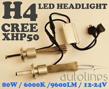 H4 LED CREE XHP50 80W 9600LM Car White Headlight Lamp High Low Kit Globes Bulbs