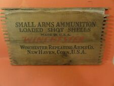 Vintage Wooden Winchester box sign Gun Ammo Antique Old Rifle Bullets Shells
