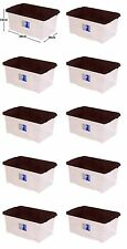 10 x 7L Clear Plastic Small Storage Shoe Toys Tools Craft Supplies Box with Lid