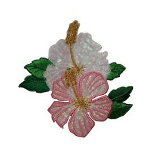 ID 6314 Pink White Hibiscus Flower  Garden Iron On Embroidered Applique Patch