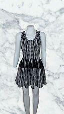 Alaia style dress textured Black and White Embroided Skater Medium