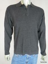 BANANA REPUBLIC M Wool Textured Long Sleeve Collared Charcoal Gray Sweater EUC