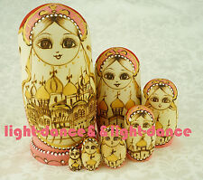 Russian Nesting Dolls Matryoskha Wooden Dolls Handicraft Present 7 pcs