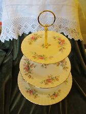 EXCELLENT  ROYAL ALBERT  CHINA PLATED 3 TIER CAKE STAND 'MOSS ROSE