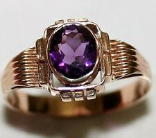ANTIQUE ART DECO 14k ROSE GOLD 1ct OVAL AMETHYST SOLITAIRE HAND MADE RING c 1920