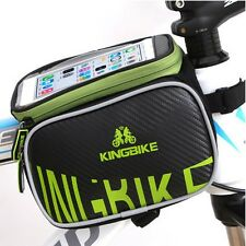 """2015 Green Bike Bicycle Cycling Front Top Tube Frame Double Bag 5.7"""" Cellphone"""