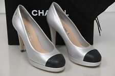 NEW CHANEL Metallic Silver Black Leather Cap Toe Platform Heel Pump Shoe Sz 40