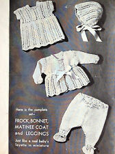 """Dolls clothes knitting pattern for  15""""- 16"""". Laminated copy. (V Doll 142)"""
