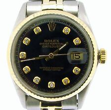 Rolex Datejust Mens 2Tone 14k Gold Stainless Steel Oval Link Black Diamond 1601