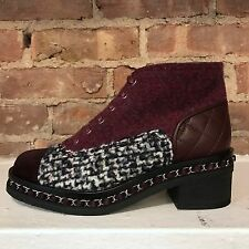 NIB Chanel $1500 Burgundy Tweed Chain Quilted Leather Lace Up Combat Boot 37