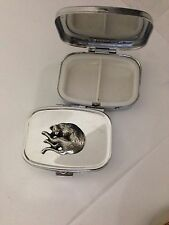 Stretching Cat R202 English Pewter Emblem on a Rectangular Travel Metal Pill Box
