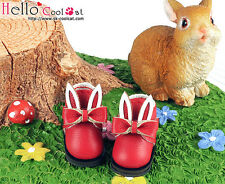 ☆╮Cool Cat╭☆【23-7】Blythe/Pullip Bunny Ears With Bow Mini Ankle Boots # Red