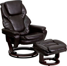 Brown Leather Recliner & Ottoman with Swivel Mahogany Base BT-70222-BRN-FLAIR-GG