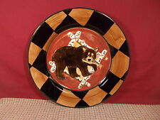 "Zrike China Outpost Pattern Dinner Plate 11 1/4"" Bear with Fish"
