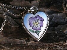 RARE ANTIQUE STERLING PANSY ENAMEL PUFFY HEART CHARM FOR BRACELET ON NECKLACE