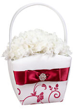 Red and White Wedding Flower Girl Basket Ceremony Satin Bow Rhinestones Gift