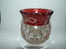 ANTIQUE EAPG RUBY STAIN KINGS KING'S CROWN GLASS TOOTHPICK HOLDER  ENGRAVED