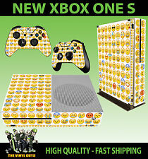 XBOX ONE S SLIM Console Sticker Emoji Smiley Face Emoticon SKIN & 2 PAD SKINS