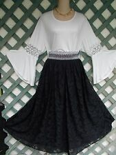 ROOMMATES OFF WHITE CROCHET BELL SLEEVE TOP 2-3X NEW CASUAL PEASANT BOHO GYPSY