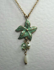 GREEN ENAMEL FLOWER PENDANT NECKLACE MATT GOLD PLATED WITH PEARL DANGLES 14 -17""