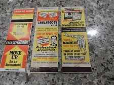 BECOME ACCOUNTANT TOP PAY !  1960S MATCH BOOK COVERS X3 ADVERT KITSCH