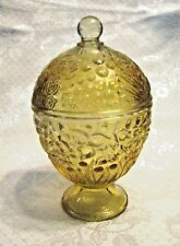 VINTAGE AVON AMBER YELLOW EMBOSSED FLORAL GLASS JAR CANDY BOWL DISH LID COVER