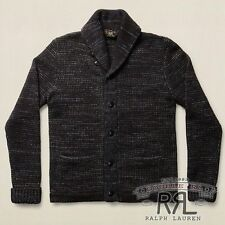 $490 RRL Ralph Lauren Made in USA Navy Wool Cotton Sweater Cardigan-MEN- M