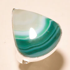 NATURAL GREEN BOTSWANA AGATE 925 SILVER RING HANDMADE JEWELRY S-9""