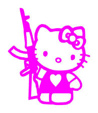 Hello Kitty Pink With Gun Vinyl Graphic Decal Car Window Sticker