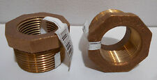 """Lot of 2 New Brass Hex Reducer Bushings 1.25"""" x 1"""" NPT Female Pipe Connectors"""