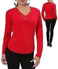 NEW SEXY Women TOP Red Blouse Shirt Beaded Cotton PLUS SIZE 1 XL 2X XXL
