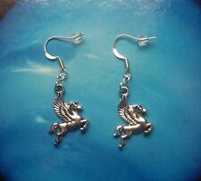 * Pegasus * vintage silver dangle studs earrings  kitsch goth steam punk