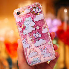 Luxury Unicorn Bling Liquid Heart Glitter Hard Back Case Cover For Apple iPhone