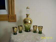 Bohemian Venetian Wine Decanter & 4 Glasses Green 24 KT Enameled Floral Design