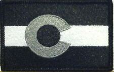 COLORADO Flag Iron-On Patch Morale Patch Black & White Version Black Border