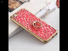 New 3D Diamond Crystal with Ring Case Cover For iPhone 7 Blue