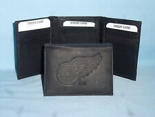 DETROIT RED WINGS    Leather TriFold Wallet    NEW    black 3  m1