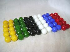 NEW SET OF 60 GLASS MARBLES IN 6 COLOURS FOR CHINESE CHEQUERS CHECKERS 14mm