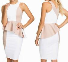 NEW WOMENS WHITE/BEIGE COLOR BLOCK PEPLUM STYLE SHORT SEXY DRESS--L 9541