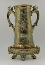 ANTIQUE NIPPON MORIAGE HAND PAINTED  JEWELED BEADED   VASE