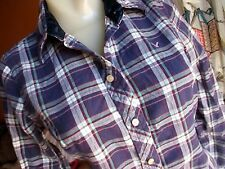 AMERICAN EAGLE BLUE/PINK Flannel Shirt Long Sleeve Button Front Women's Size 6