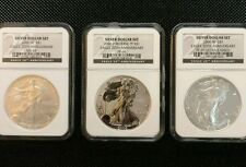 "2006 20th Anniversary Silver Eagle rare ""BLACK LABEL"" 3 Coin Set - NGC 69"