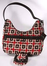 NEW Vera Bradley Tweed Coll Red Brown White Large Satchel With Matching Wallet